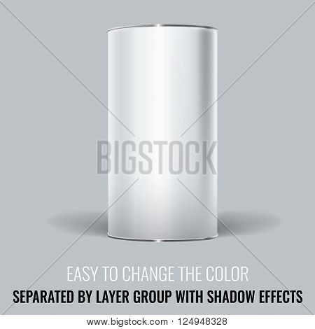White Blank Tincan packaging. Vector Mock up design for gift box, tea, coffee, dry products. Separated by layer group with transparency and shadow effects. Easy to change the color.