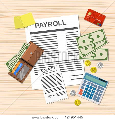 payroll concept. payroll invoice sheet, check receipt, calculator, leather wallet, money bills, coins. credit card. vector illustration in flat design on light background
