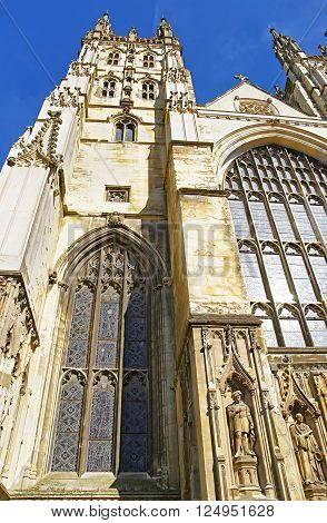 Fragment of Canterbury Cathedral in Canterbury in Kent of England. It is one of the most famous cathedrals in England. It is the Archbishop of Canterbury Cathedral. poster