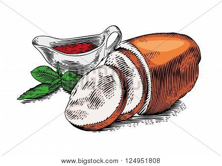 Drawing of pieces of smoked pork meat with fresh green basil and red tomato sauce in the sauce-boat
