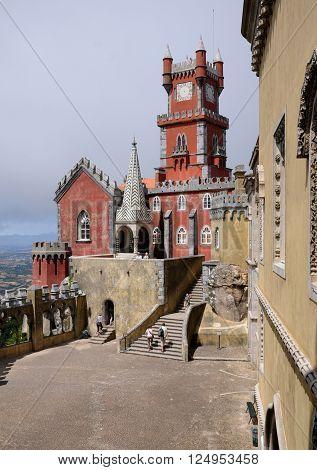 Sintra Portugal - july 2 2010 : The Pena National Palace (Portuguese: Palacio Nacional da Pena) is a Romanticist palace in Sao Pedro de Penaferrim in the municipality of Sintra