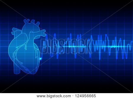 Vector Illustration heart rhythm ekg on blue background technology