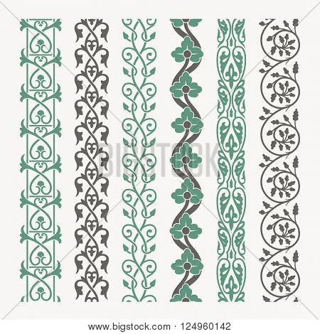 Decorative seamless ornamental borders set