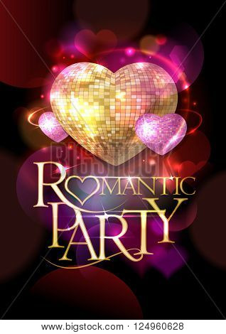 Romantic party poster, golden headline text and pink mosaic hearts, bokeh hearts backdrop