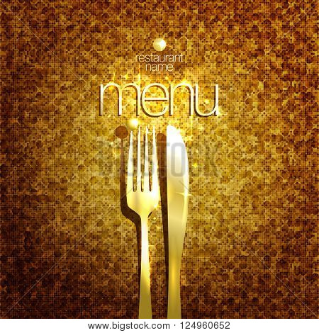 Stylish expensive restaurant menu card design mock up with golden fork and knife against gold sparkle backdrop