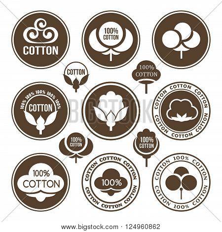 Cotton icons set. Cotton labels stickers and emblems.