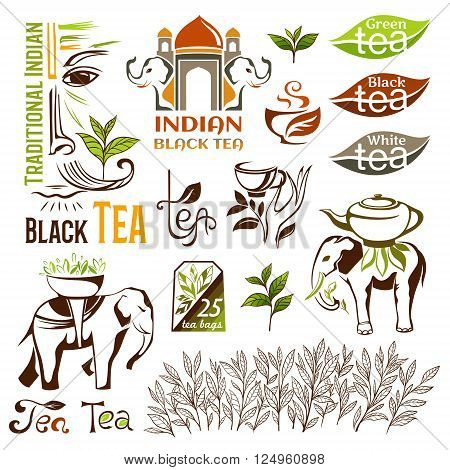 Tea logo collection. Indian green and black tea emblems. Tea decorative elements for package design.