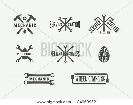 Vintage mechanic and car service logos emblems badges labels marks prints and posters. Vector Illustration.