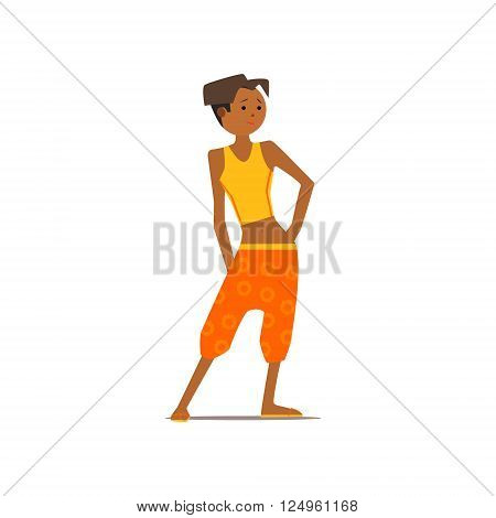 Black Girl In Harem Pants Isolated Primitive Design Style Vector Illustration on White Background