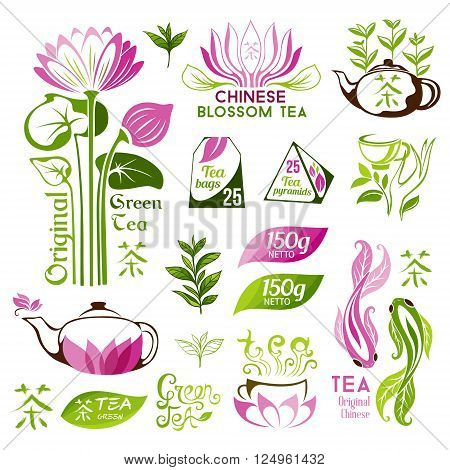 Tea logo collection. Chinese blossom and green tea emblems. Tea decorative elements for package design.