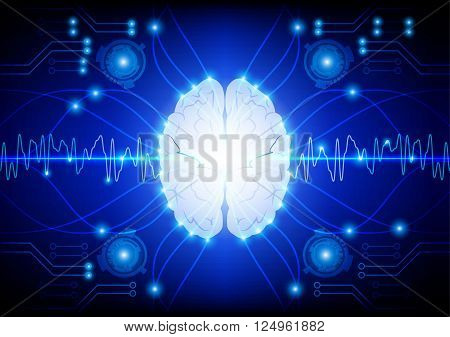 Abstract electric circuit digital brain technology concept. vector illustration design