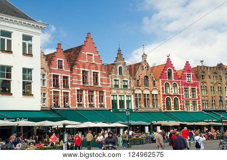 BRUGES BELGIUM - SEPTEMBER 10 2014: Grote Markt square. Bruges (Brugge) Belgium