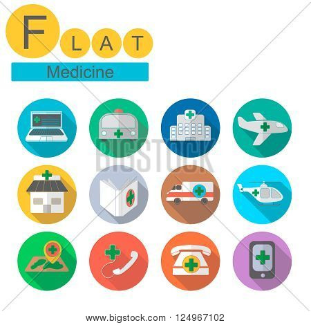set of flat Medical Ambulance simple icons