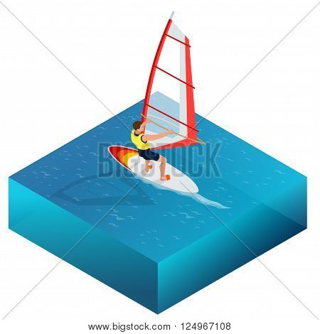 Windsurfing, Fun in the ocean, Extreme Sport, Windsurfing icon, Windsurfing flat 3d vector isometric illustration