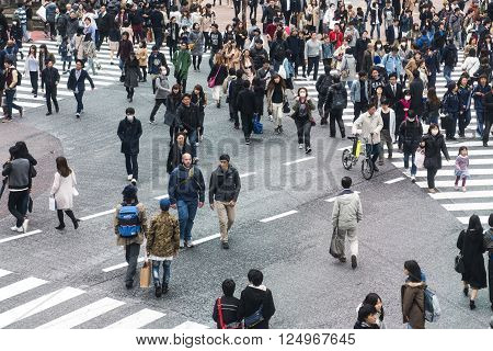 TOKYO JAPAN - APRIL 02 2016: Pedestrians walk at Shibuya Crossing during the holiday season. The scramble crosswalk is one of the largest in the world.