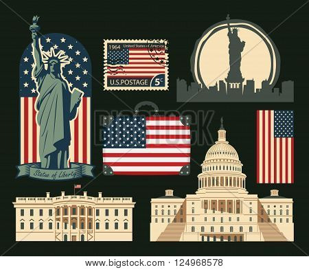set of symbols and architectural landmarks of the United States of America