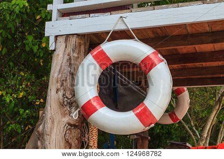 lifebelt on lifeguard house,float and Life jacket rescue