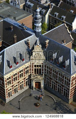 Utrecht, Netherlands - May 6: This is the main Utrecht's University building from the height of the tower Domtoren May 6, 2013 in Utrecht, Netherlands.