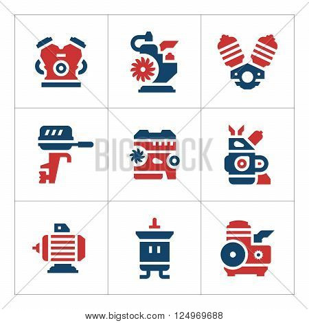 Set color icons of motor and engine isolated on white. Vector illustration