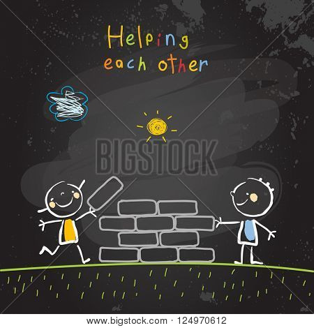 Kids helping each other, friendship concept vector illustration. Children building together, teamwork. Chalk on blackboard sketch, hand drawn doodle.