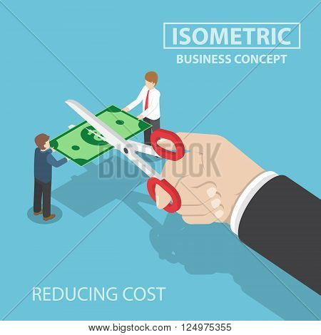 Isometric Businessman Hand With Scissors Cutting Money