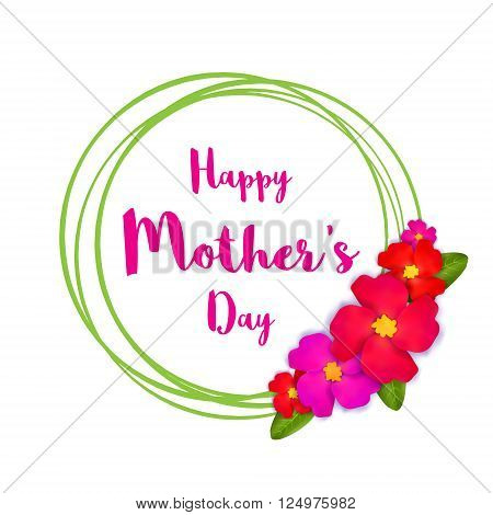 Happy Mothers Day. PinkFloral Greeting card with Bunch of Spring Flowers holiday white background. International Womens Day. Beautiful bouquet with ring frame. Trendy Design Template. Vector illustration.