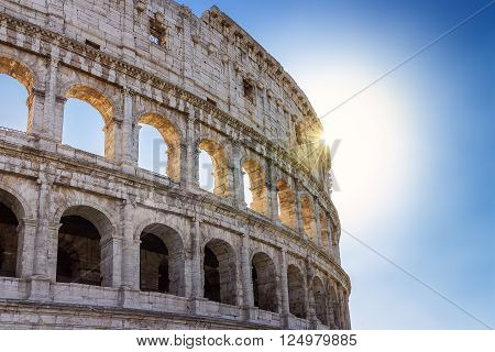 Roman Colosseum especially in backlight. Rome, Italy.