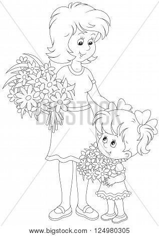 Black and white vector illustration of a little girl and her mum with bouquets of flowers