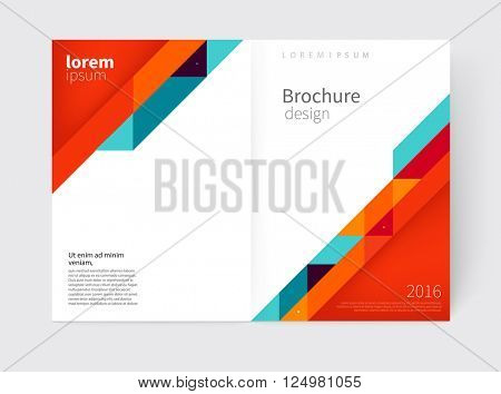 Cover design. Brochure, flyer, annual report cover template. a3 size. modern Geometric Abstract background. red, blue & yellow diagonal lines & triangles. vector-stock illustration EPS 10