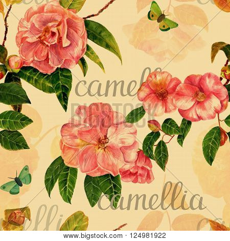 A seamless background texture with vintage style watercolor camellias butterflies and the word 'camellia' in calligraphy; hand painted and sepia-toned