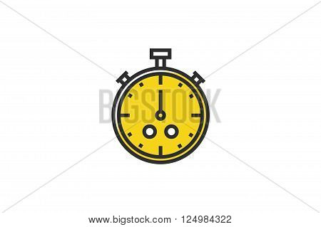 Stopwatch. Outline colorful icon.Line art. Stock vector