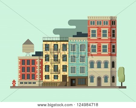 New york city building. Cityscape usa, architecture exterior, urban street. Vector illustration