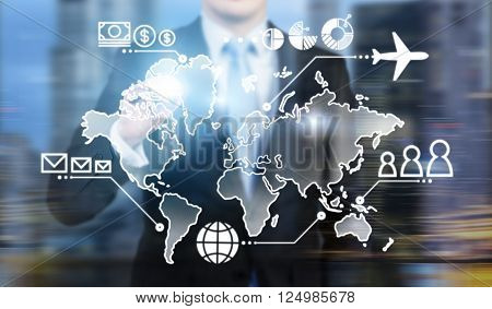 Businessman standing in front of virtual map money people and communication points and plane on it. Concept of business logistics.