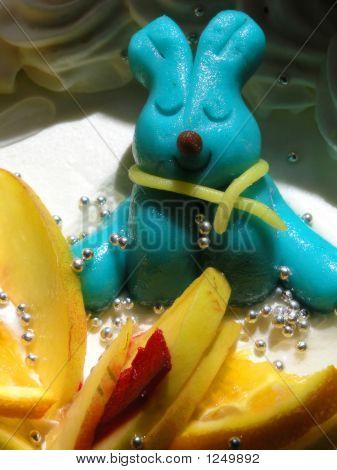 Blue Rabbit On Fruit Cake