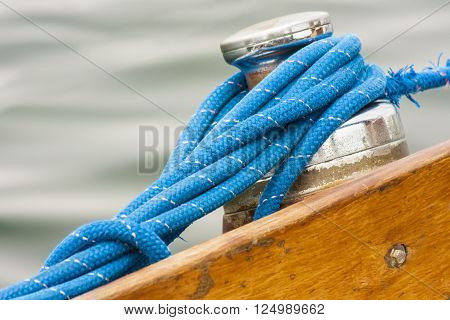 Sailing boat detail - from the capstan rope sailing closeup