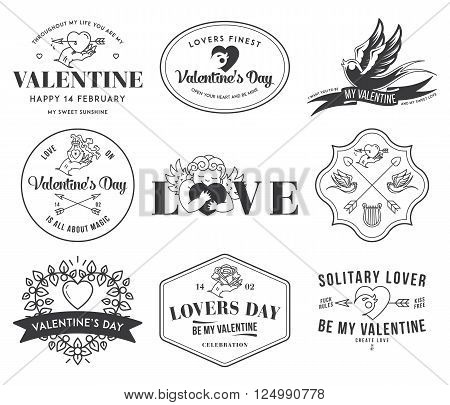 Valentines Love badges and icons black on white
