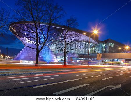 MUNICH GERMANY - MARCH 8 2016: BMW World (BMW Welt) in Munich at night a multi-functional customer experience and exhibition facility of the BMW AG.
