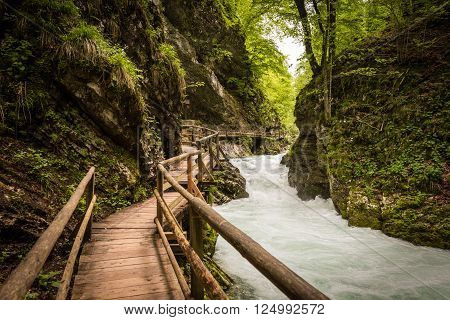 View on flowing mountain river and wooden bridge in Vintgar Gorge, Slovenia