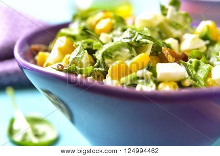 Spinach Salad With Sweet Corn,boiled Egg And Fried Bacon.