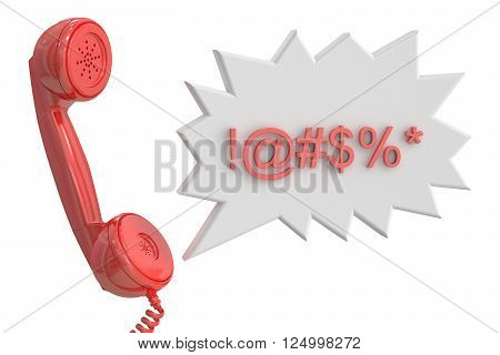Handset and speech bubble with censored swearing words 3D rendering