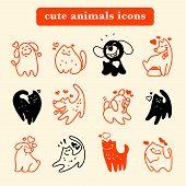 Vector flat pet logo. Dog, cat simple icon. Pet shop logo, animal goods store, pet food logo brand design. Pet center insignia. Kid shop logo. poster