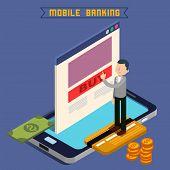 Mobile Banking. Isometric Concept. Online Payment. Mobile Payment. Money Transaction. Online Banking. Security Deposit. Finance Investment. Internet Banking. Vector illustration poster