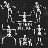 Collection of drunken skeletons in different poses. .Typography design poster