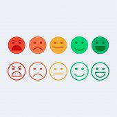 Feedback vector concept. Rank level of satisfaction rating. Feedback in form of emotions, emoji. User experience. Customer feedback. Review of consumer. Feedback flat icon. poster