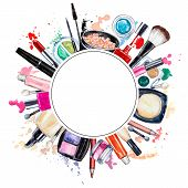 Frame of various watercolor decorative cosmetic. Makeup products beauty items mascara lipstick foundation cream brushes eye shadow nail polish powder lip gloss. Hand drawn cosmetics poster