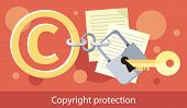 Copyright protection design flat. Copyright and protection, intellectual property symbol, patent and copyright law, piracy business, law property, secure mark license vector illustration poster