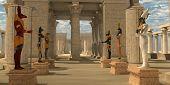 Temple of Ancient Pharaohs 3D illustration - A pharaoh's temple to worship Egyptian gods Seth Ra Anubis Hathor Osiris and Bast. poster