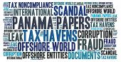 Panama papers scandal word cloud concept illustration poster