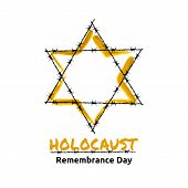 Holocaust Remembrance Day May 5 Jewish star in the barbed wire vector illustration poster