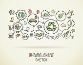 Ecology hand draw integrated icons set on squared paper. Color vector sketch infographic illustration. Connected doodle pictograms. eco friendly, bio, energy, recycle, car, planet, green concepts poster